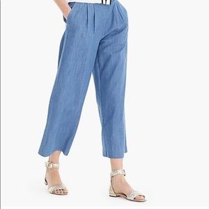 JCrew Wide Leg Cropped Chambray Pant